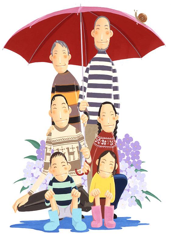 牧野貴宏 梅雨でもスマイル!アジサイをバックに傘に入る家族イラスト 家族・ファミリーの梅雨イラスト