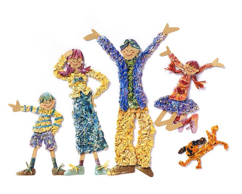 巻田弓子 カラフルで元気な子どもと家族のイラスト