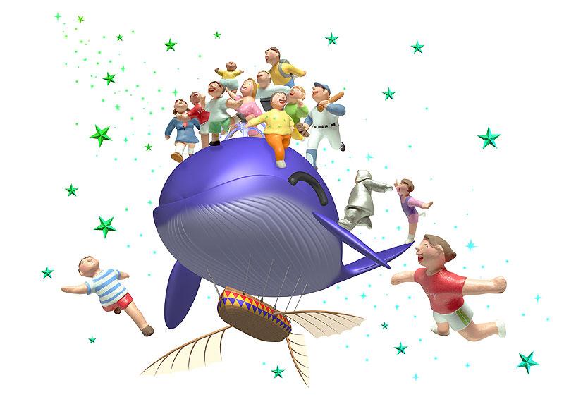 南風もん+未来工房 夢イラスト 夢イメージ素材・鯨の形をした飛行船の上にいる人々