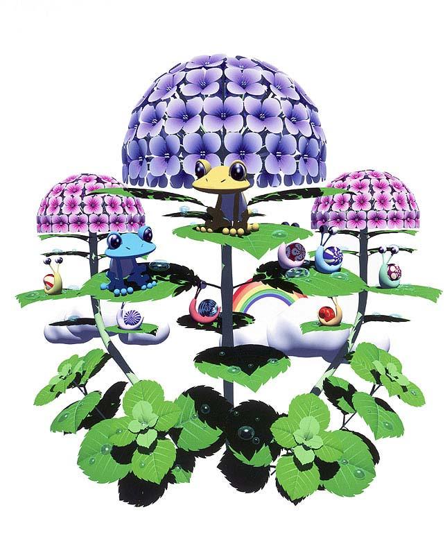 未来工房 梅雨イラスト 紫陽花にカエルとカタツムリ