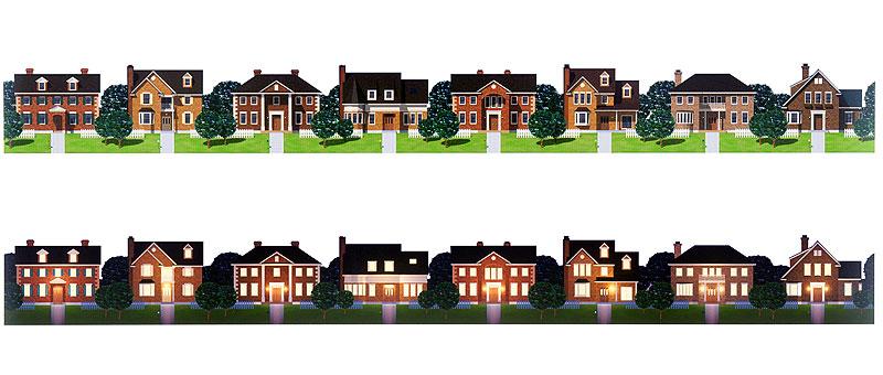 未来工房 住宅街 町並みのフレームイラスト