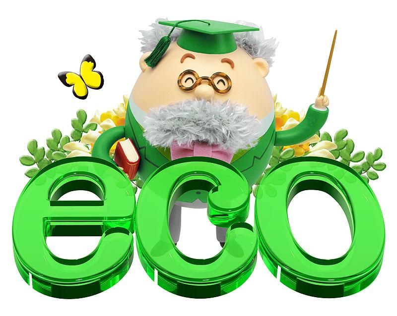 エコ 緑色のエコ文字と共に植物と蝶に囲まれて笑う博士
