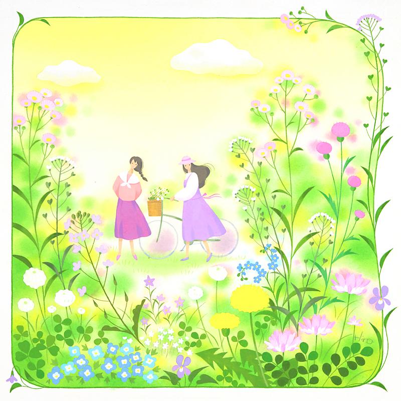 森寛子 春の野原と草花の4月の野原を散歩する少女たちイラスト