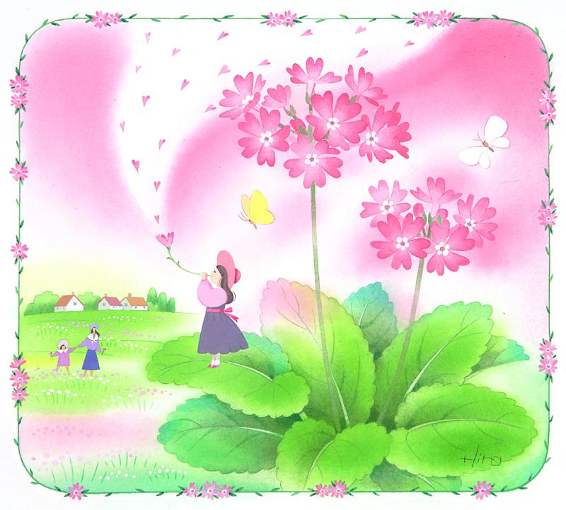 メルヘンイラスト サクラソウと春の歌(春)