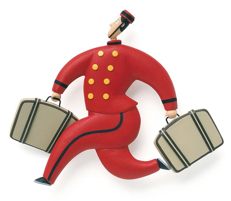 荷物を運ぶホテルマンイラスト 二つのトランクを持って荷物を運ぶホテルマン...   荷物を運ぶホ