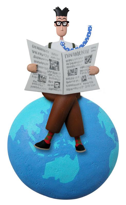 森田秀昭 世界と繋がる新聞で最新情報をキャッチする知的ビジネスマンイラスト 仕事・職業・ビジネスイラスト
