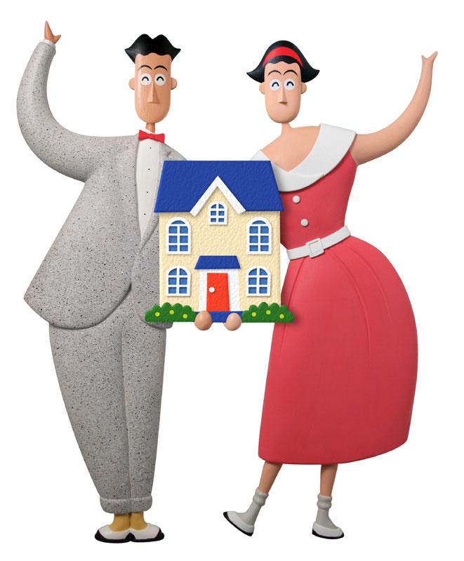 家族のマイホームイラスト 家を持つ夫婦