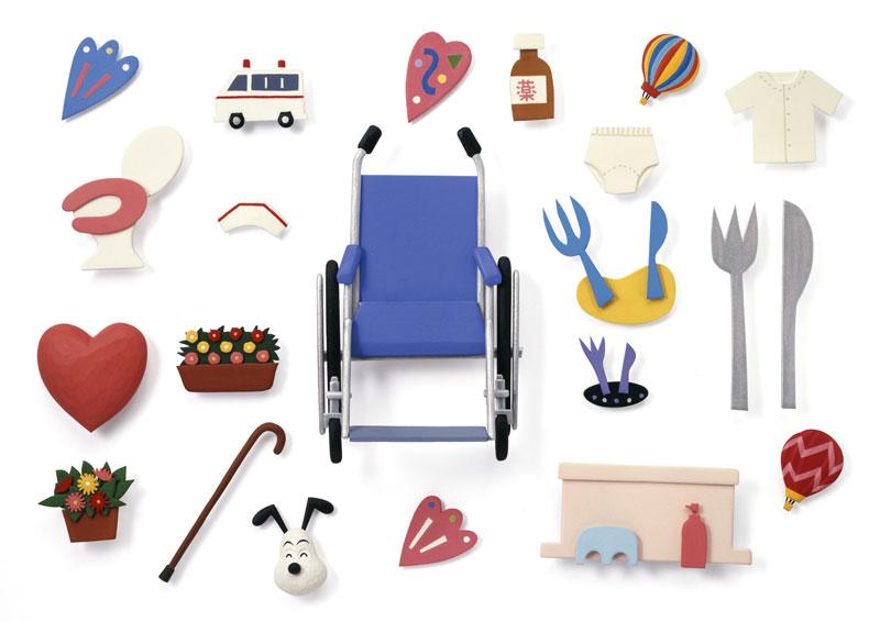 介護・福祉イラスト 車椅子など介護用品と生活設備