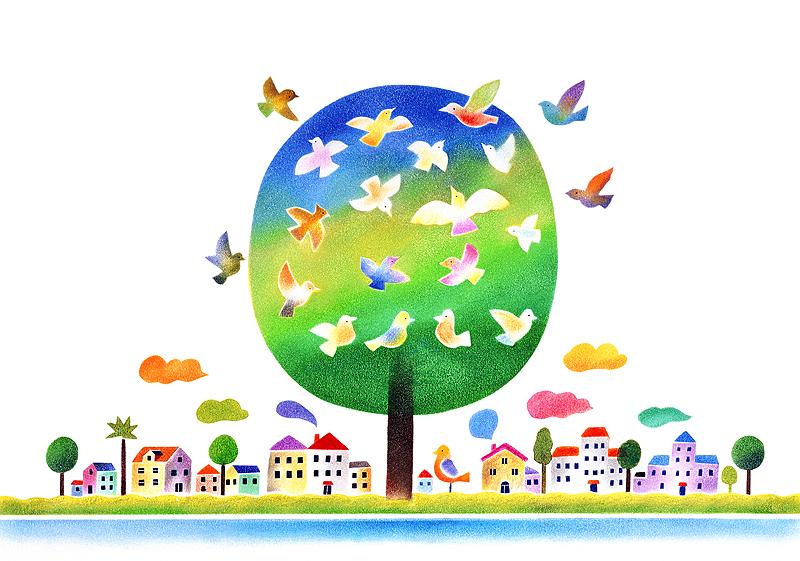 元井進 木に集まる鳥たちと町並みの風景イラスト