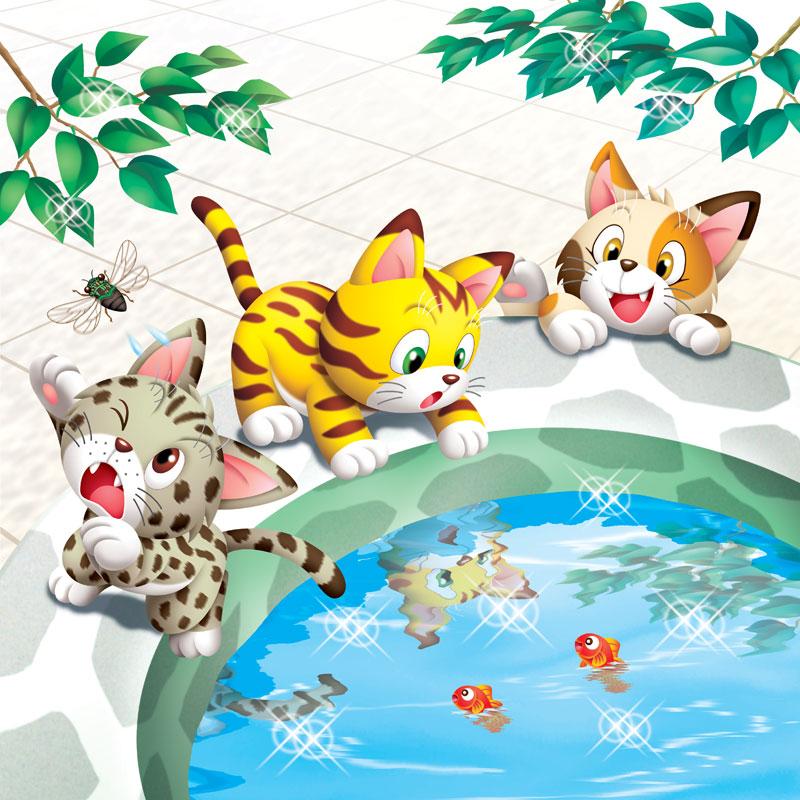 動物イラスト 夏の午後池の中の金魚を見ている子猫達