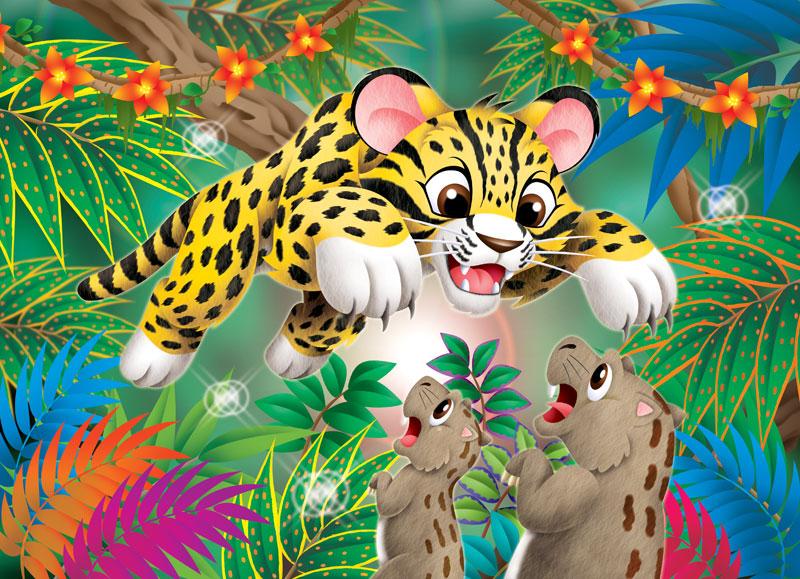 動物イラスト ジャングルの中獲物を狙うジャガー