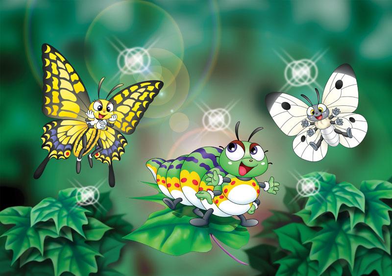 動物イラスト 木の葉に乗って飛ぶいも虫、見ている蝶達