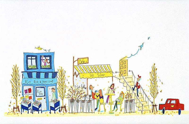 町並みイラスト ヨーロッパの街の本屋やカフェに