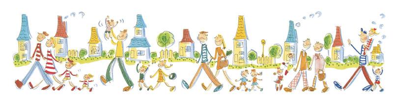 群衆・行列イラスト 新しい家が並ぶ街を歩く家族やカップル