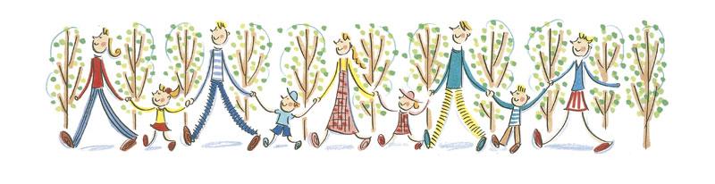 ナカムラユキ 大人と子供が手をつないで散歩のパノラマフレームイラスト