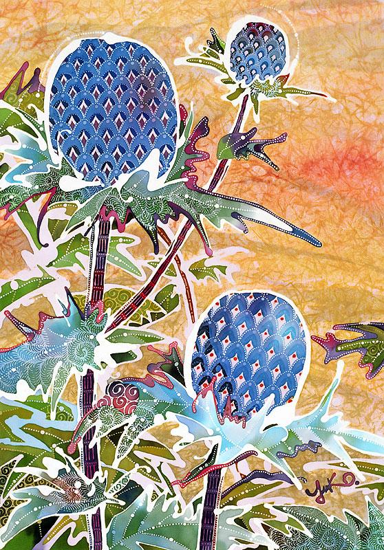 中田ゆう子 染色技法バティックの植物アザミイラスト