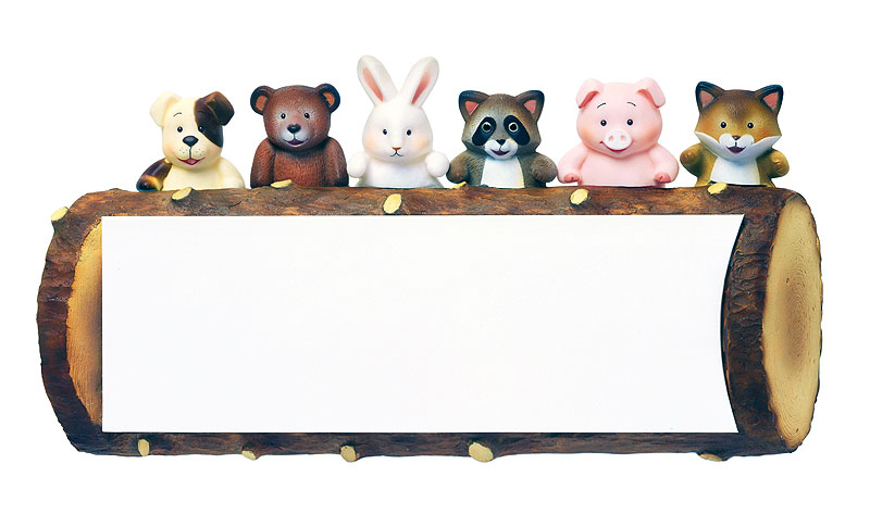 掲示板イラスト 切り株のフレームに乗ったかわいい動物たち