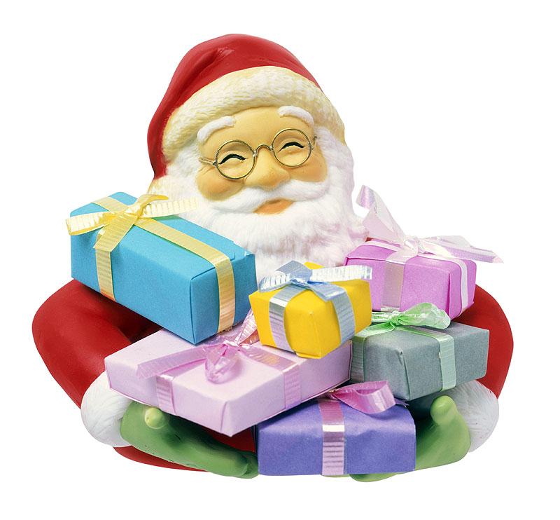 中津順さん プレゼントの箱をいっぱい抱えたサンタクロースのイラスト