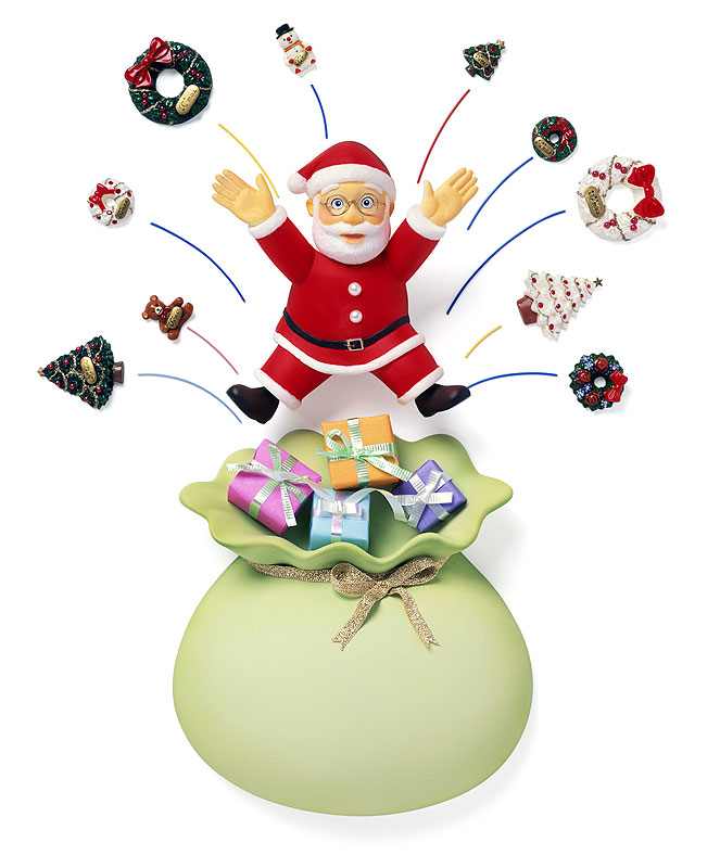 クリスマスイラスト プレゼントの袋から飛び出したサンタ