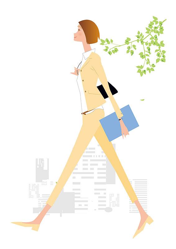 働く女性イラスト オフィス街を歩くビジネスウーマン