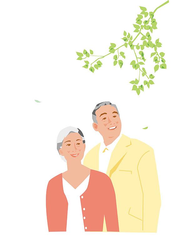 高齢者・老夫婦イラスト 春の新緑を見上げる中高年夫婦