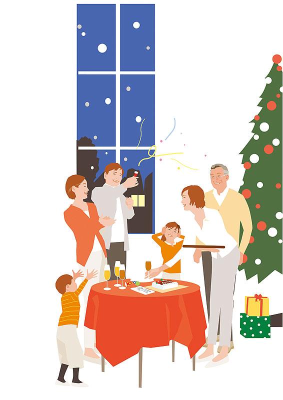 クリスマスパーティーを楽しむ家族イラスト