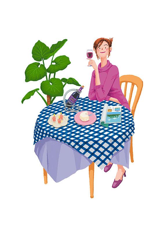 西田ヒロコ テーブルに肘をついてワインを飲む女性イラスト