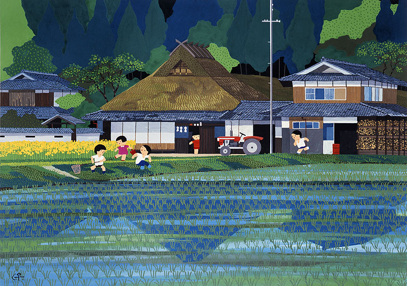 西口保 田植え・日本の風景・四季・カレンダーイラスト