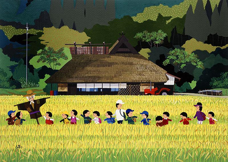日本の四季 風景カレンダーイラスト 子供イラスト 田んぼの中を通って遠足
