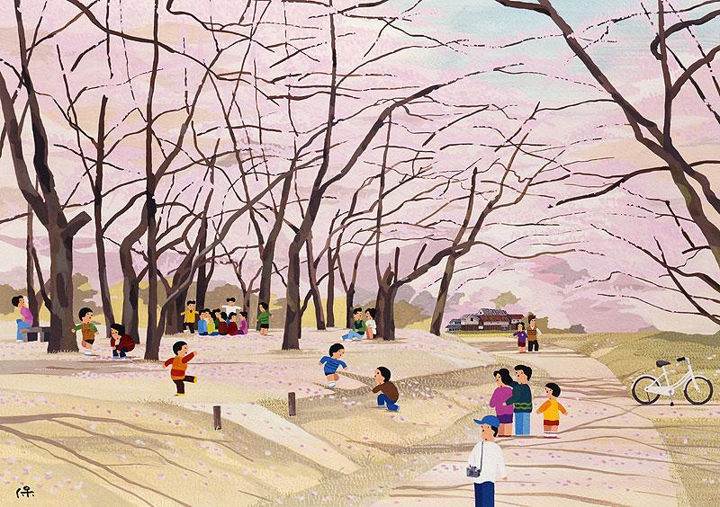 西口保 桜満開の公園でお花見する人々イラスト