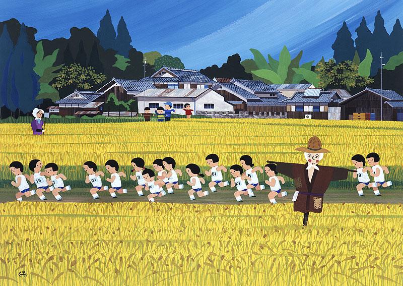 秋の田んぼイラスト 稲の実った田んぼの道をマラソンする生徒たち