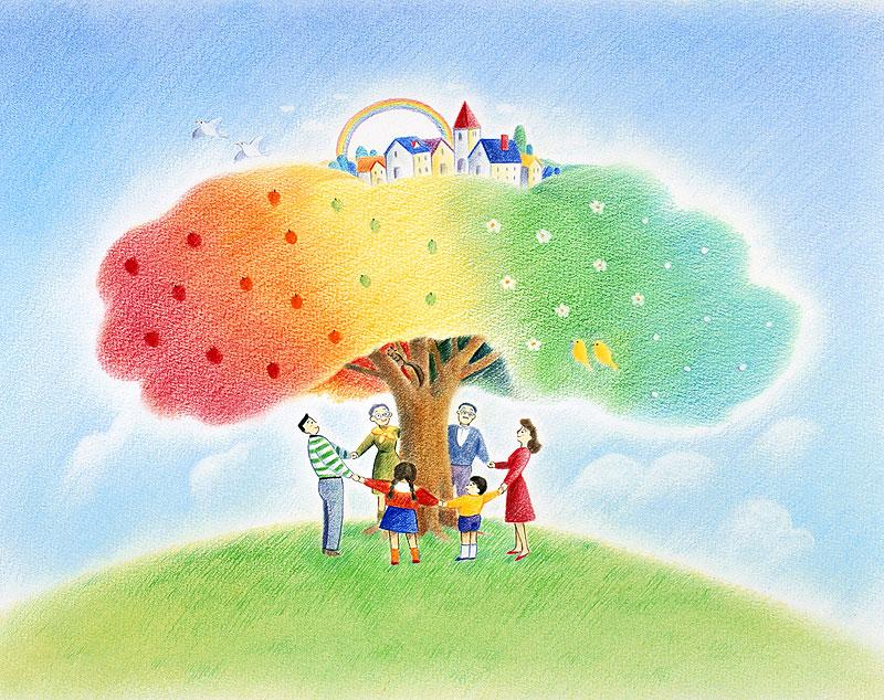 町と家族イラスト 大きな木の町を守るように囲むファミリー