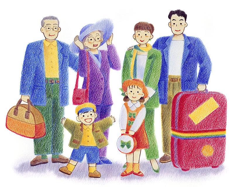 家族旅行イラスト スーツケースを持って旅行へ出かけるかわいいファミリー