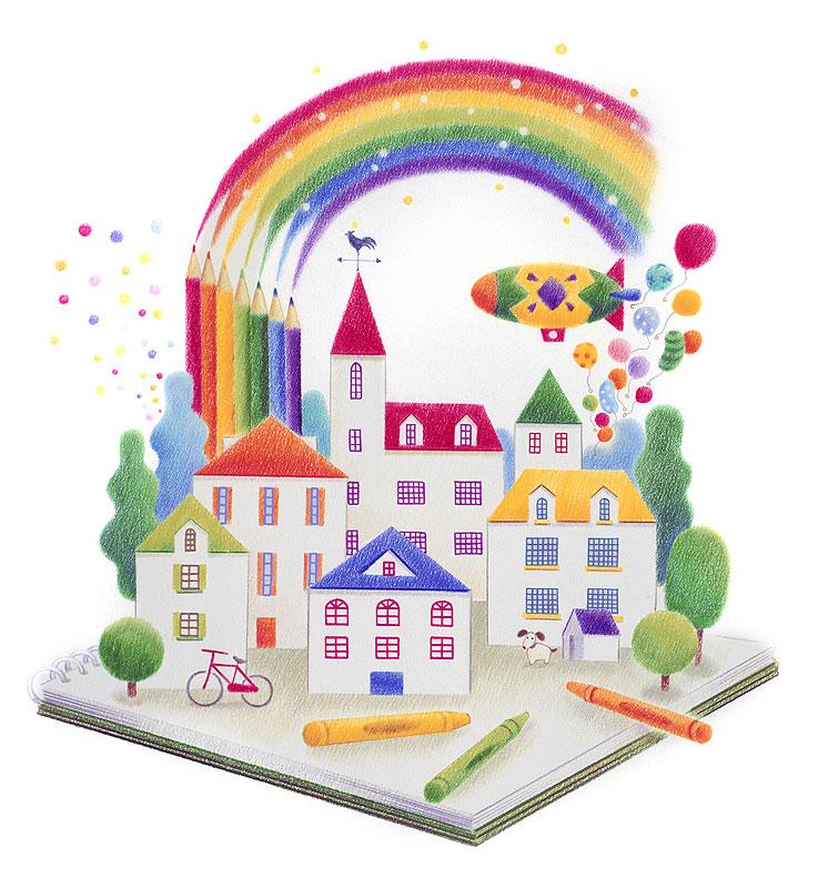 小笠原鈴代 色鉛筆とクレヨンで描く家と町のイメージイラスト