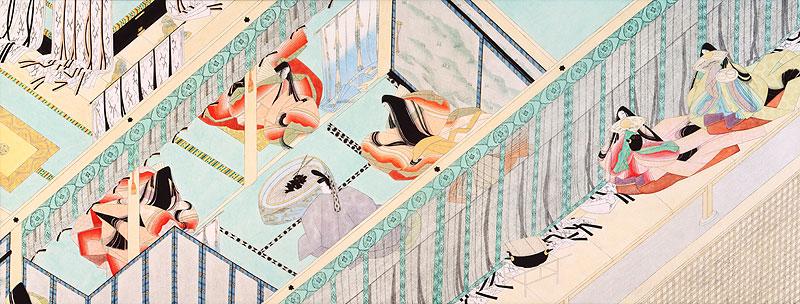 岡田元史 平安時代の枕草子絵詞室談笑する十二単の少女イラスト