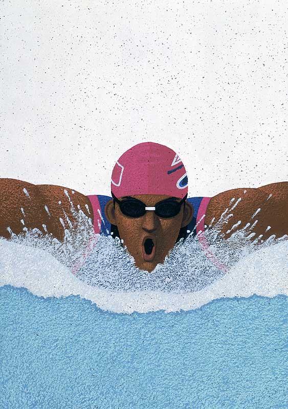 スポーツイラスト 水泳バタフライ男子選手の迫力の正面アップ