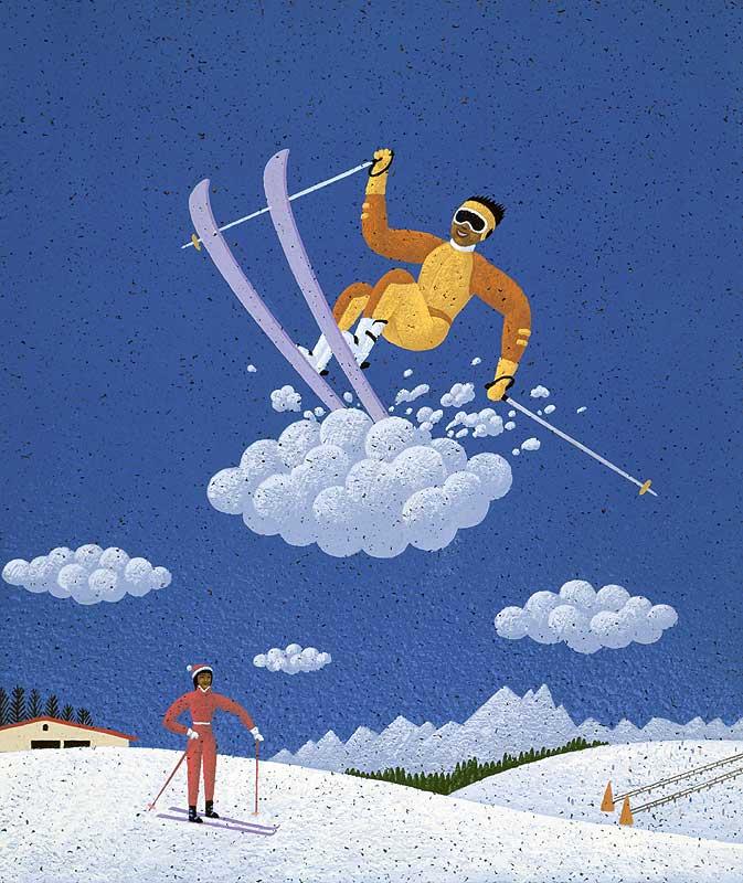 スポーツイラスト スキー場で雲上を滑る不思議なス... スポーツイラスト スキー場で雲上を滑る不