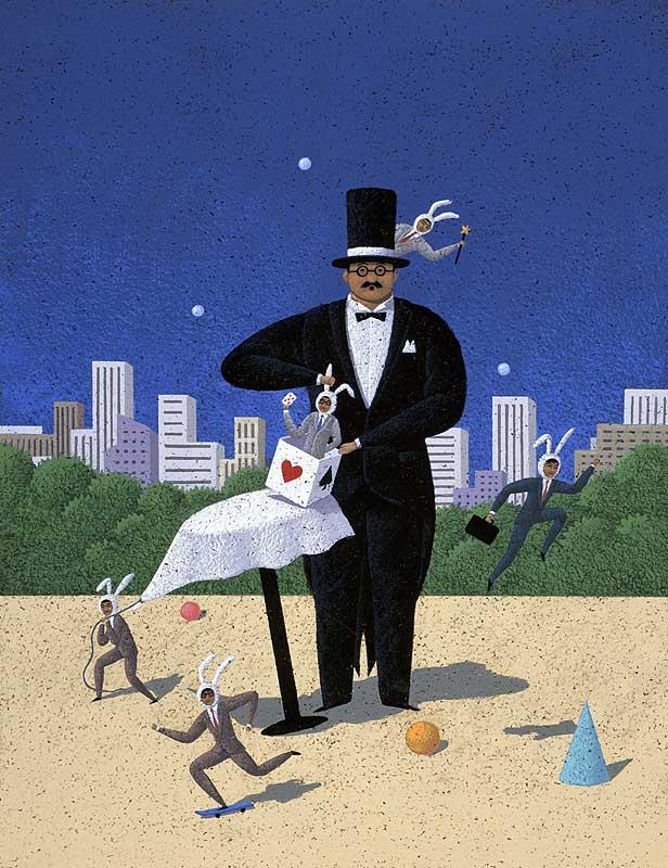 オケスタジオ オフィス街をバックにした正装のマジシャンと働くビジネスマンのウサギたちイラスト