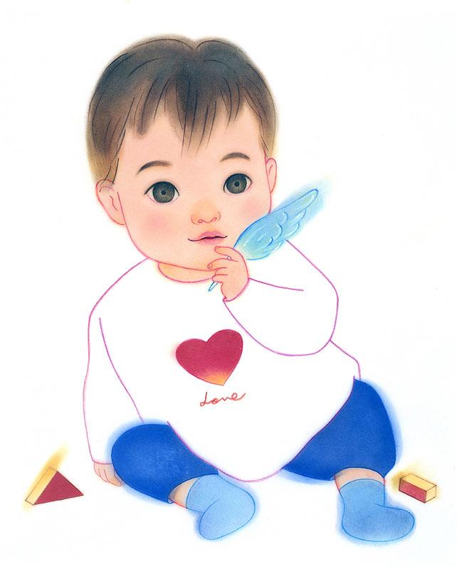 子供イラスト ハートTシャツ羽持つ幼児   子供イラスト ハートTシャツ羽持つ幼児