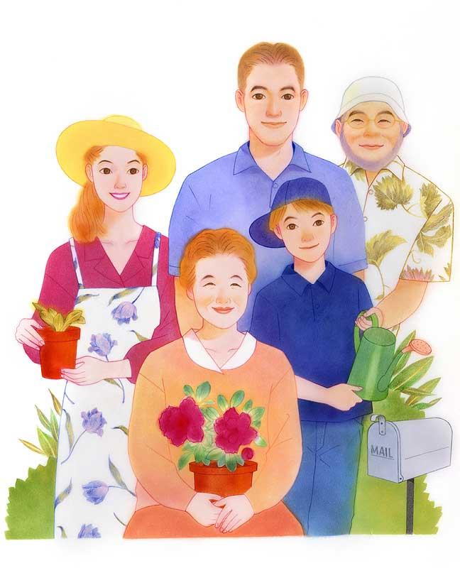 桶口麻枯 緑豊かな庭で過ごす家族とおばあちゃんイラスト 子ども・家族・ファミリーイラスト