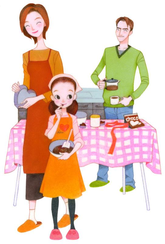 桶口麻姑 家族で過ごすバレンタインイラスト