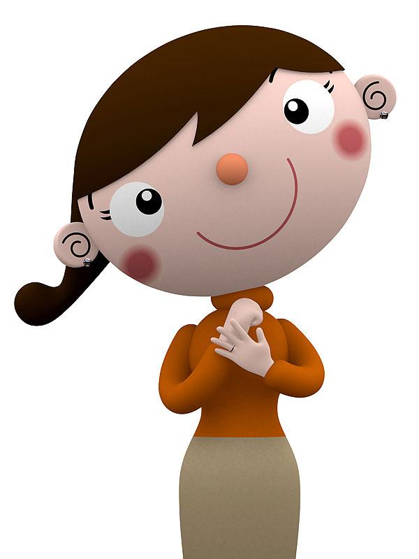 ひらめきイラスト 手を打つ納得笑顔の女性