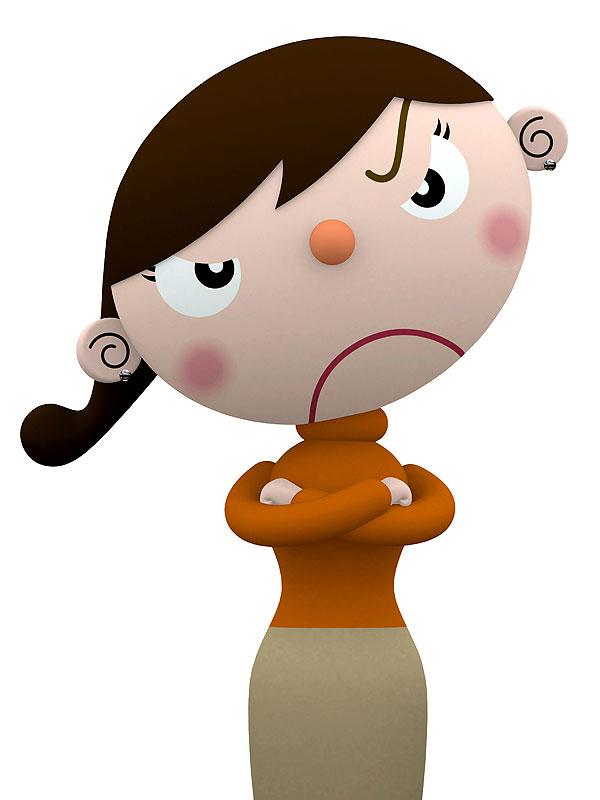 怒るイラスト 腕組みをして怒る女性