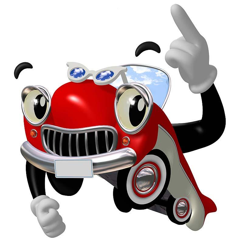 オシャレ・ポンチ レンタカープラン レジャープラン イラスト 得ダネ 特ダネ ビッグニュース 指差す擬人化した赤い車 ご案内 カーリース マイカーローン ドライブ