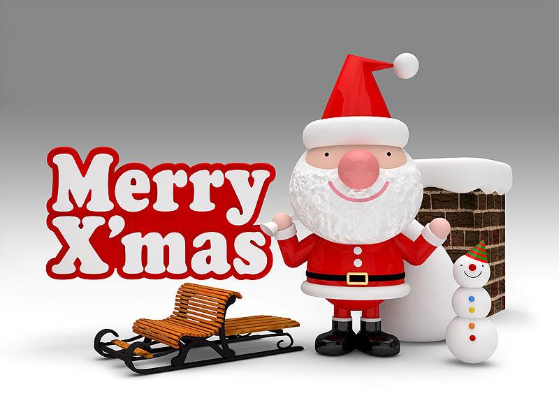 メリークリスマス 雪ぞりとサンタクロースイラスト 煙突の前で雪だるまと一緒の