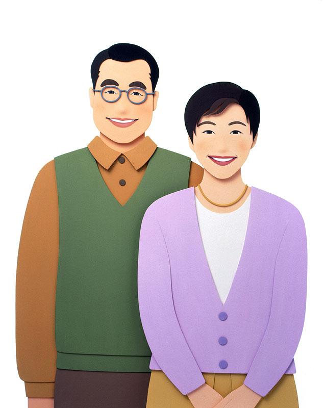 大竹則彦 成熟時代の中高年夫婦イラスト 家族・ファミリー・夫婦イラスト