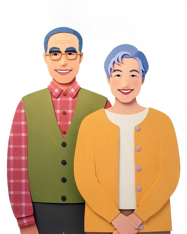 大竹則彦 お年寄り高齢者の暮らしとライフスタイルイラスト 家族・ファミリーイラスト