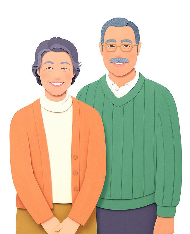 大竹則彦 熟年夫婦の仲良しイラスト
