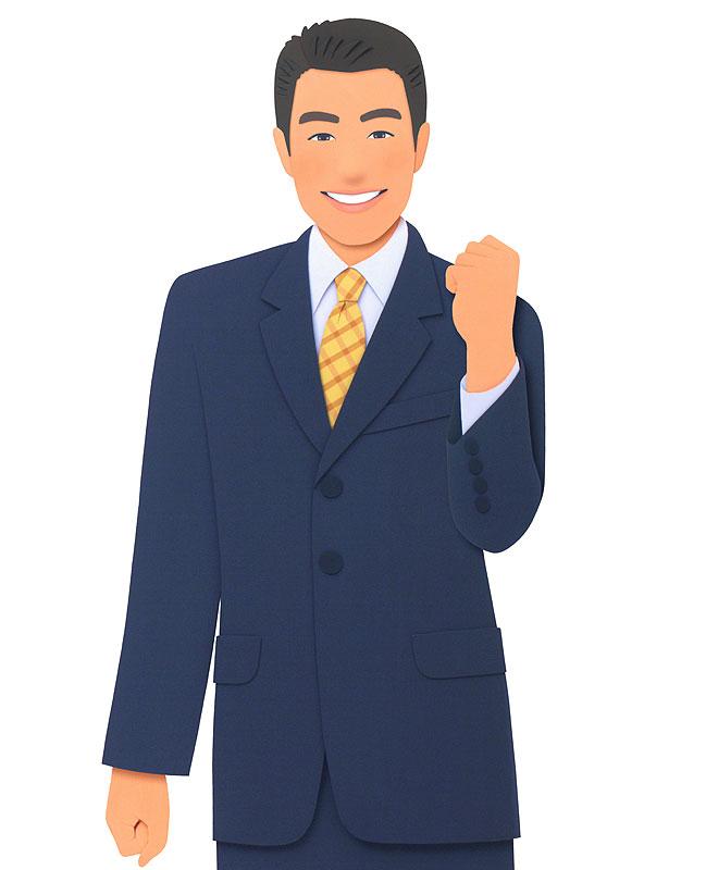 30歳代男性会社員のガッツポーズビジネスマン