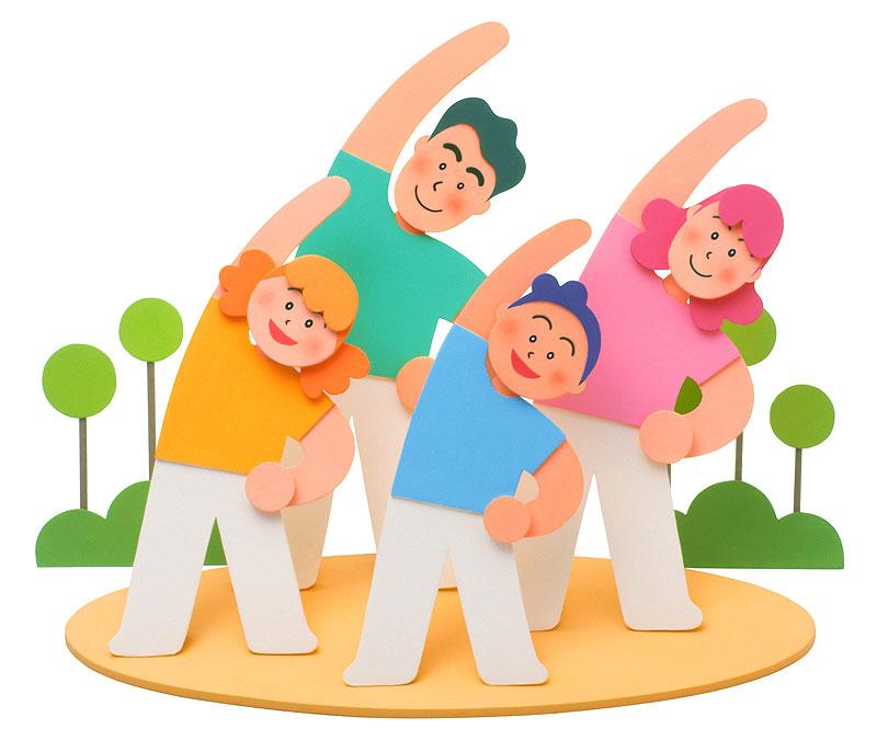元気にラジオ体操をする家族イラスト